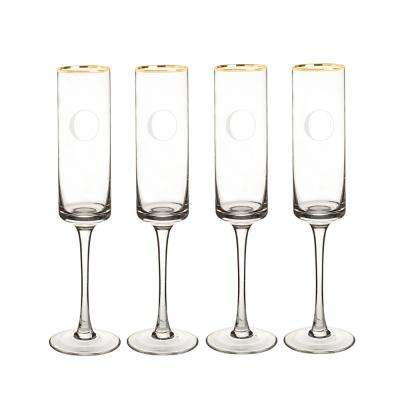 Personalized Gold Rim Contemporary Champagne Flutes - O