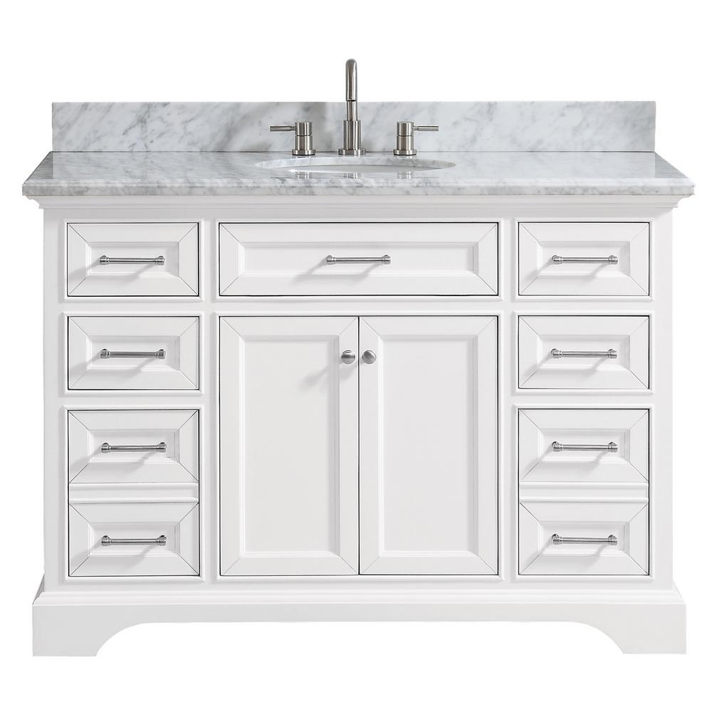 Home Decorators Collection Windlowe 49 In W X 22 In D X 35 In H Bath Vanity In White With Carrera Marble Vanity Top In White With White Sink