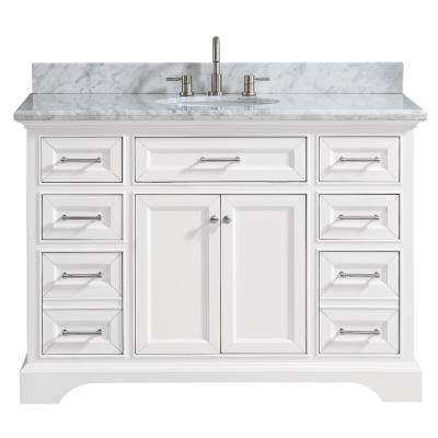 Windlowe 49 In W X 22 In D X 35 In H Bath Vanity In White With Carrera Marble Vanity Top In White With White Sink
