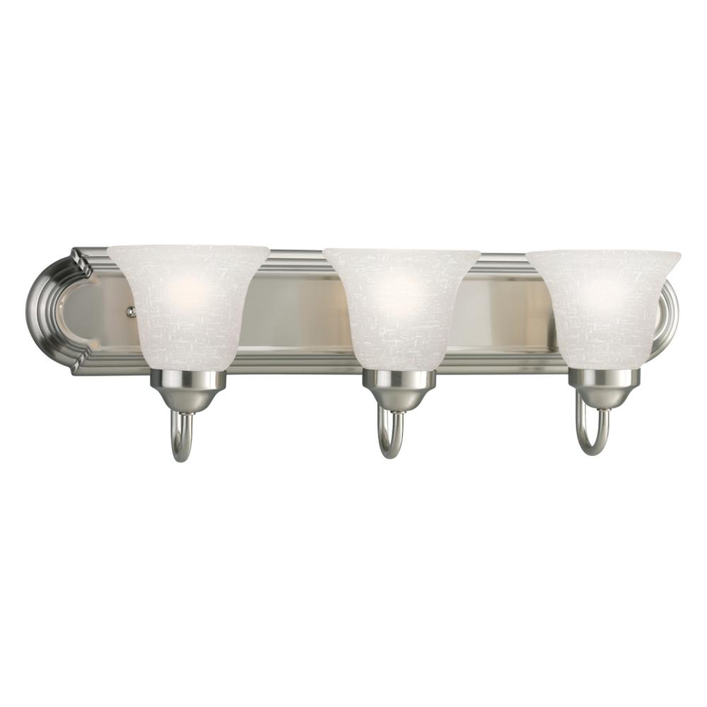 Progress Lighting 24 in. 3-Light Brushed Nickel Bathroom Vanity Light with Glass Shades