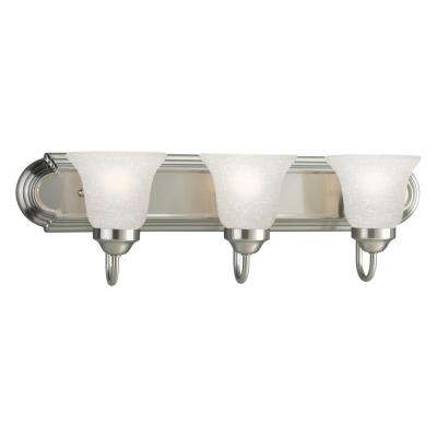 24 in. 3-Light Brushed Nickel Bathroom Vanity Light with Glass Shades