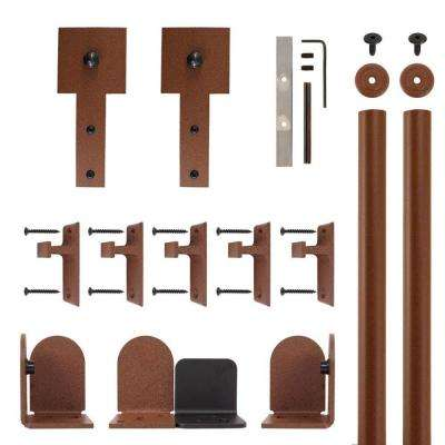 Cube Stick New Age Rust Rolling Door Hardware Kit for 3/4 in. to 1-1/2 in. Door