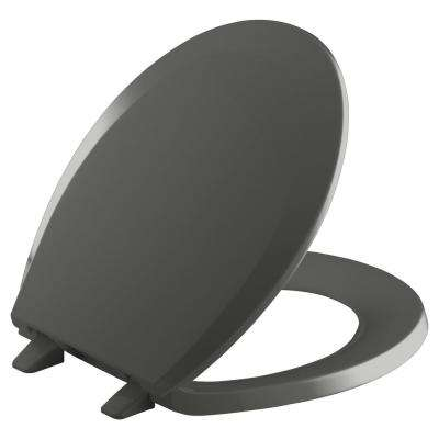 Lustra Round Closed-Front Toilet Seat with Q2 Advantage in Thunder Grey