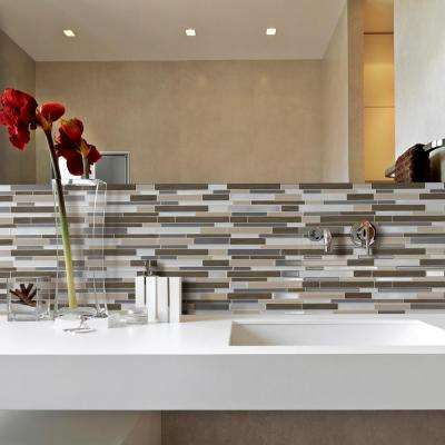 Milano Lino 11.55 in. W x 9.63 in. H Peel and Stick Decorative Mosaic Wall Tile Backsplash (6-Pack)