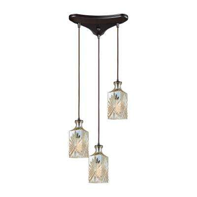Titan Lighting Giovanna 3-Light Triangle Pan in Oil Rubbed Bronze with Champagne Plated Decanter Glass Pendant