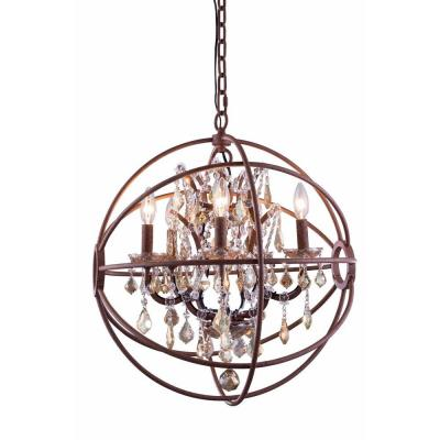 Geneva 5-Light Rustic Intent Chandelier with Golden Teak Smoky Crystal