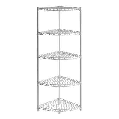 47 in. H x 14 in. W x 14 in. D 5-Shelf Steel Wire Corner Shelving Unit in White