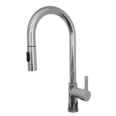 Rigo Single-Handle Pull-Down Sprayer Kitchen Faucet with Water Saver in Satin Nickel