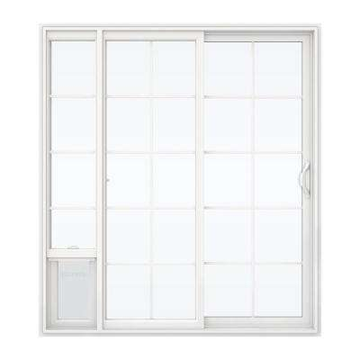 72 in. x 80 in. White Right Hand Vinyl Patio Door with Low-E Argon Glass, Grids and Large Pet Door