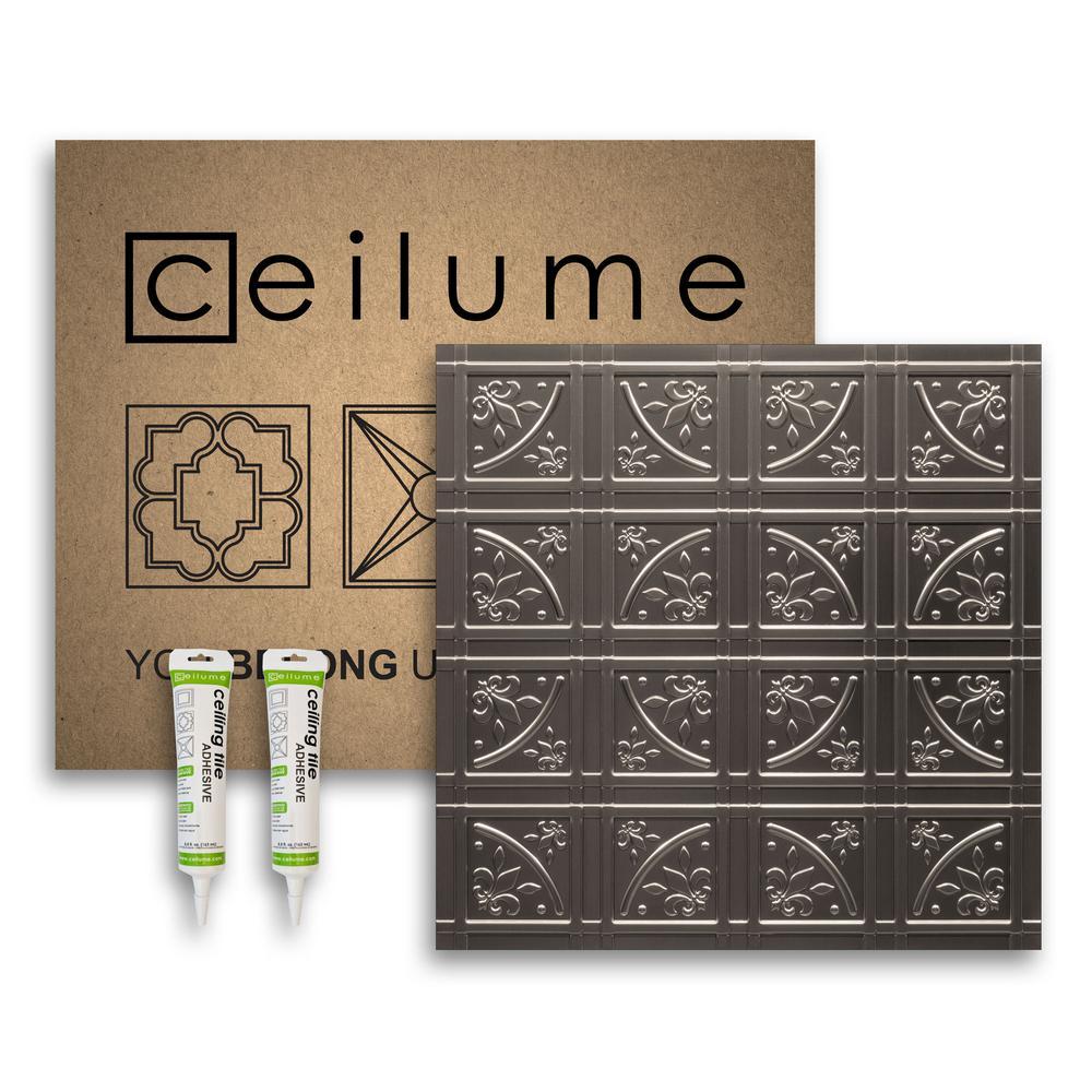 Lafayette Faux Tin 2 ft. x 2 ft. Glue-up Ceiling Tile and Backsplash Kit