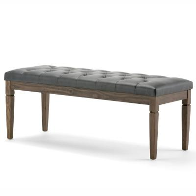 Waverly 48 in. Traditional Ottoman Bench in Slate Grey Faux Leather