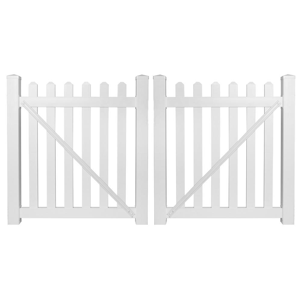 Chelsea 8 ft. W x 4 ft. H White Vinyl Picket Fence Double Gate Kit