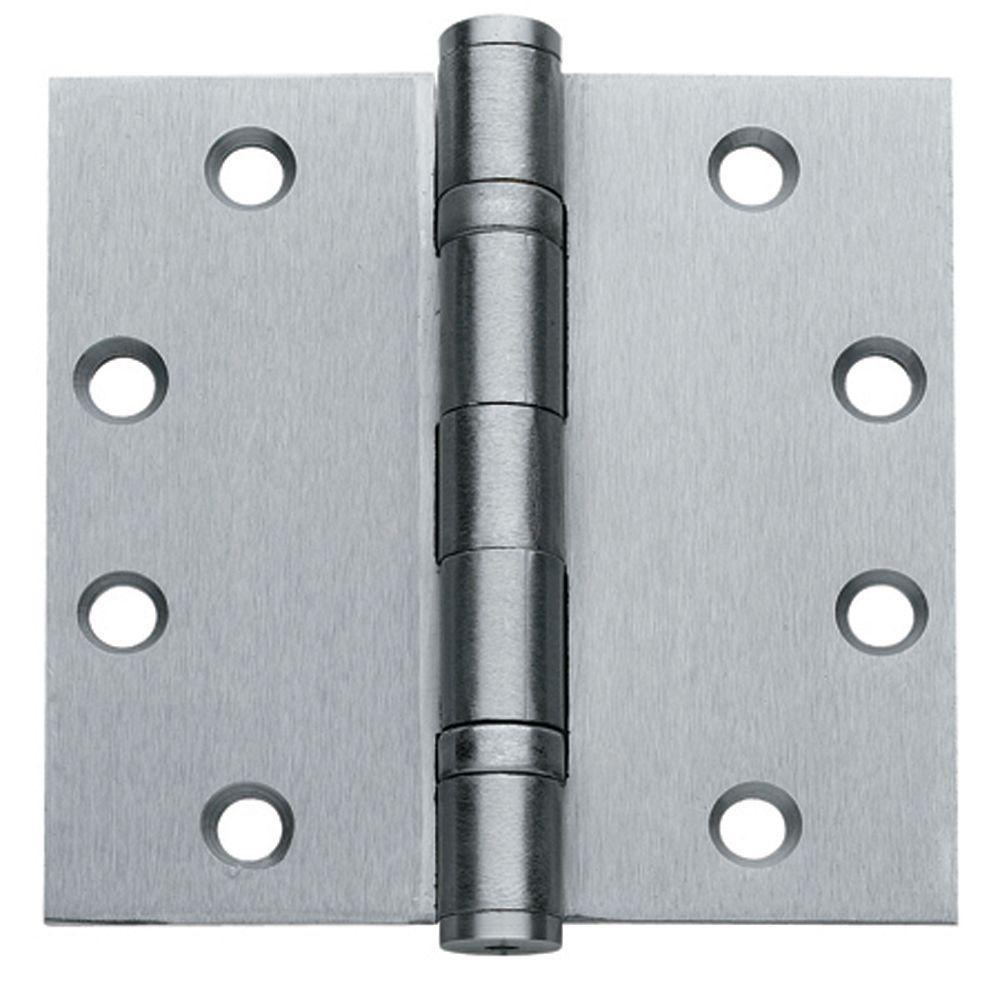 x 4 in Brushed Chrome Steel Spring Hinge Global Door Controls 4 in
