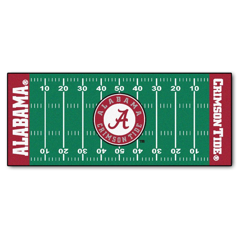 FANMATS University of Alabama 2 ft. 6 in. x 6 ft. Football Field Rug Runner Rug