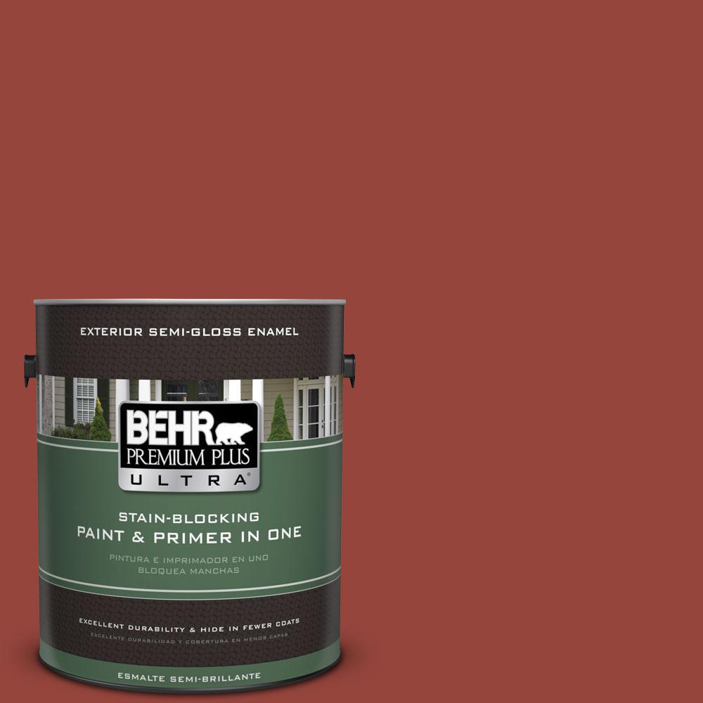 BEHR Premium Plus Ultra 1-gal. #PPU2-17 Morocco Red Semi-Gloss Enamel Exterior Paint
