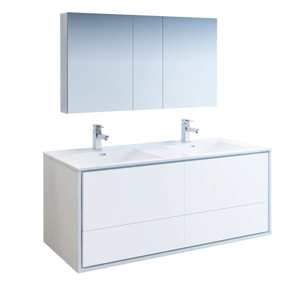 Fresca Catania 60 in. Modern Double Wall Hung Vanity in Glossy White, Vanity Top in White with White Basins, Medicine Cabinet