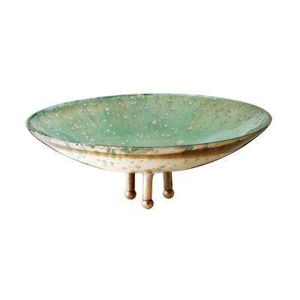 Gilded Sea 10 in. Glass Decorative Bowl in Sea Green