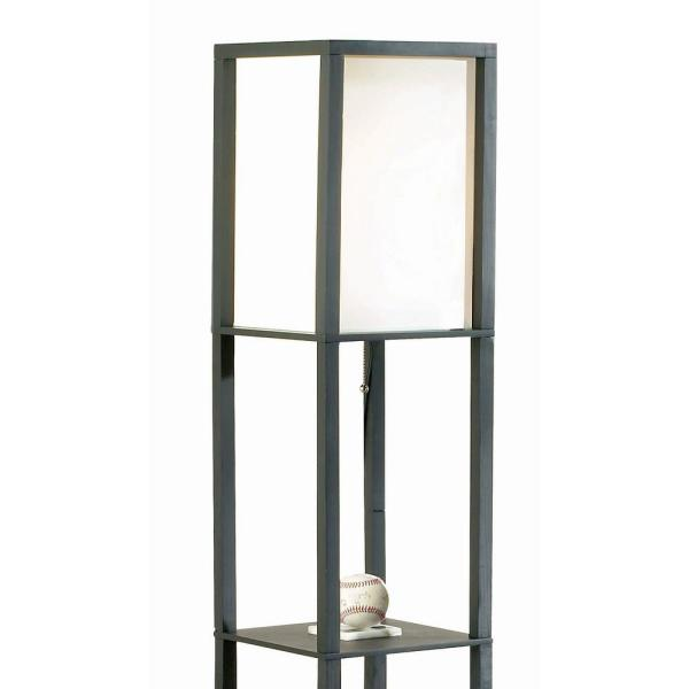 Black Square Etagere Floor Lamp