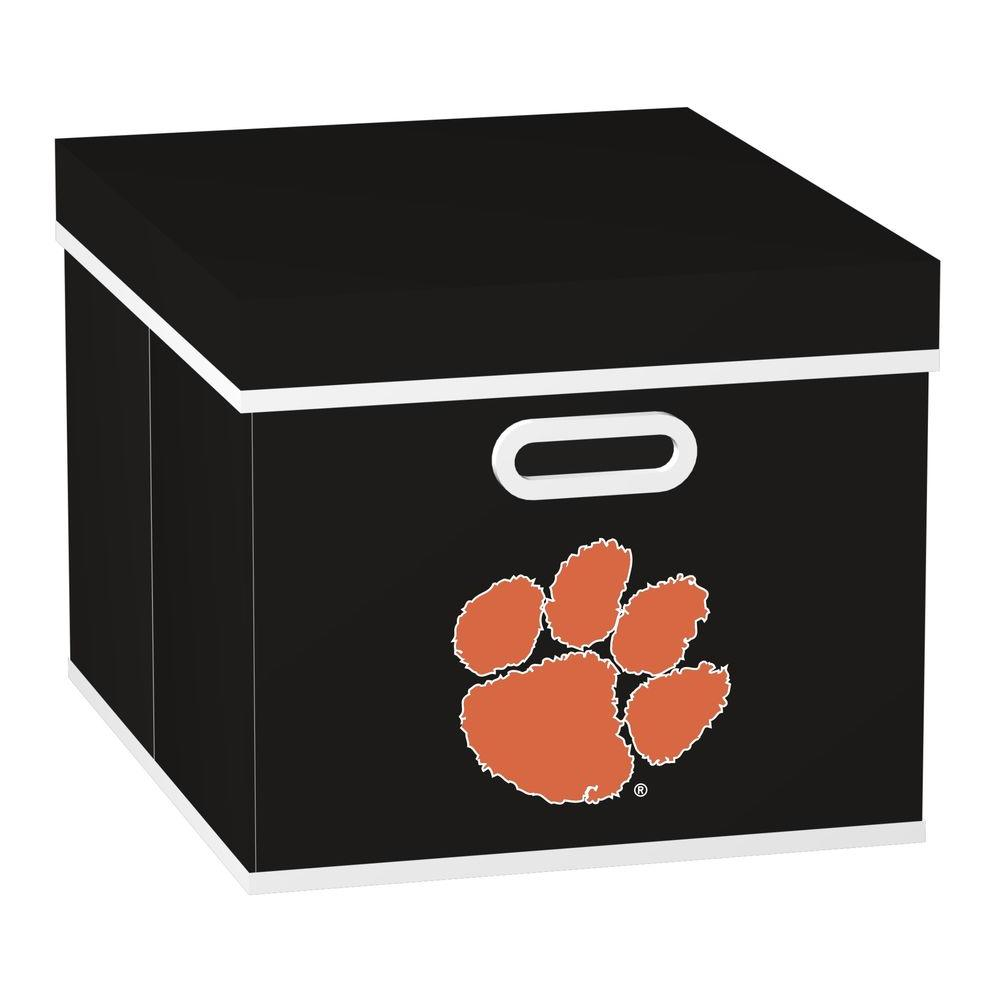 MyOwnersBox College STACKITS Clemson University 12 in. x 10 in. x 15 in. Stackable Black Fabric Storage Cube