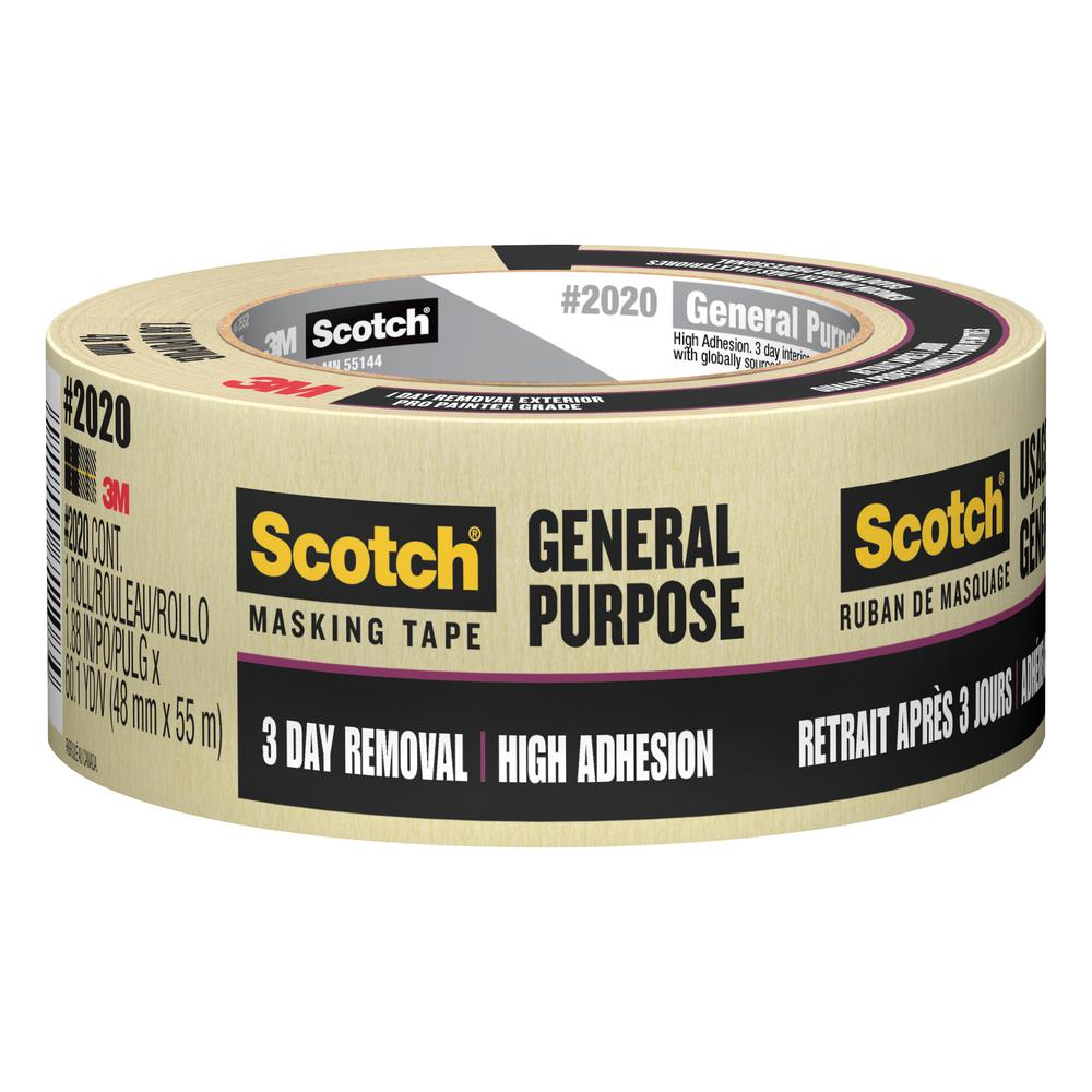 3M Scotch 1 88 in  x 60 1 yds  General Purpose Masking Tape (Case of 24)