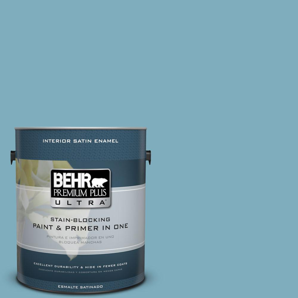 BEHR Premium Plus Ultra 1-gal. #PMD-83 Porcelain Blue Satin Enamel Interior Paint