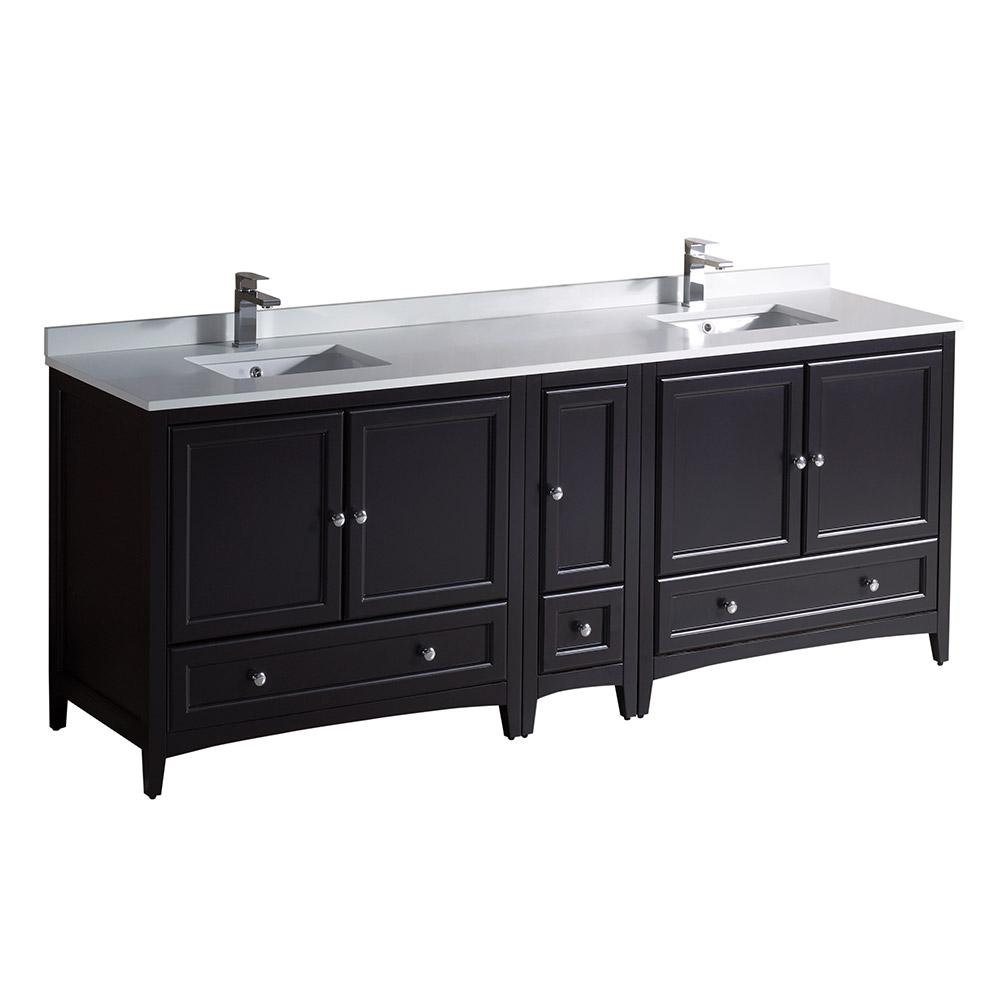 Fresca oxford 84 in double vanity in espresso with quartz stone vanity top in white with white for 84 bathroom vanities and cabinets