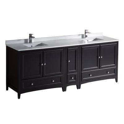 Oxford 84 in. Double Vanity in Espresso with Quartz Stone Vanity Top in White with White Basins with Side Cabinet