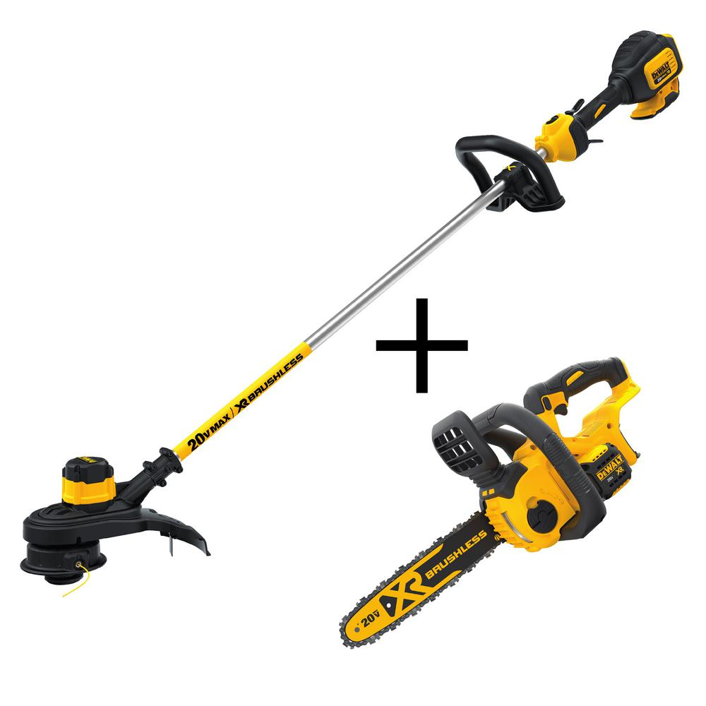 DEWALT 13 in. 20-Volt MAX Lithium-Ion Cordless Brushless String Trimmer with Bonus Brushless Chainsaw, 5Ah Battery and Charger
