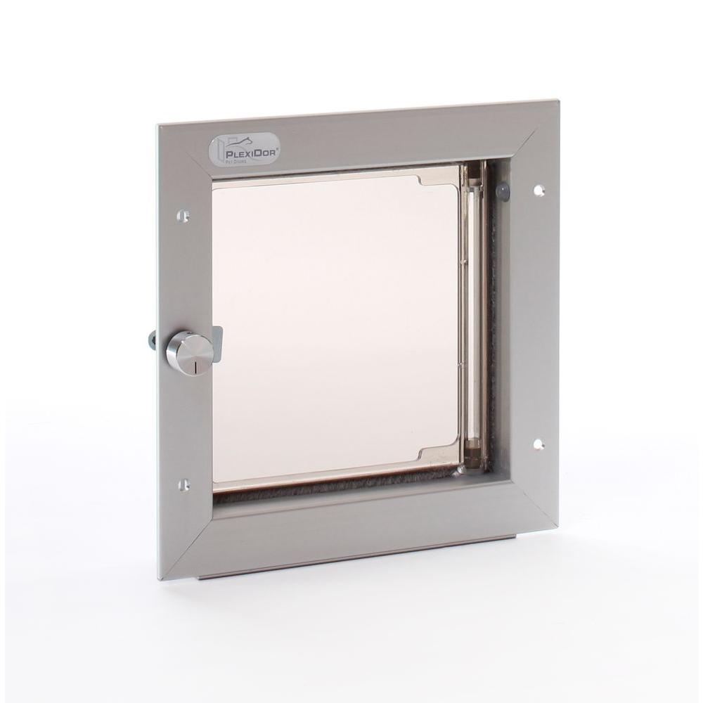 PlexiDor Performance Pet Doors 6.5 in. x 7.25 in. Small Silver Wall Mount Cat or Small Dog Door Requires No Replacement Flap