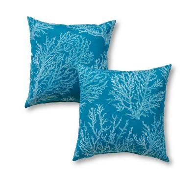 Sea Coral Square Outdoor Throw Pillow (2-Pack)