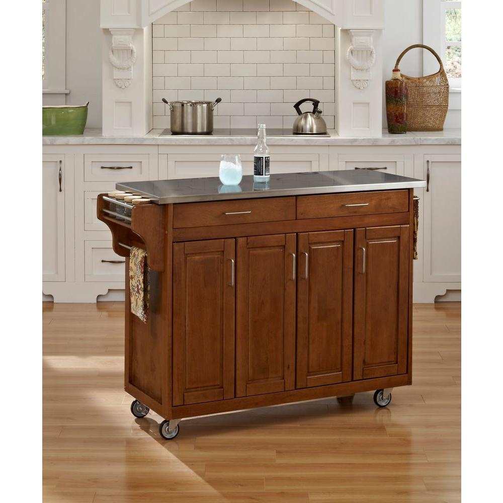 Create A Cart Warm Oak Kitchen Cart With Stainless Top
