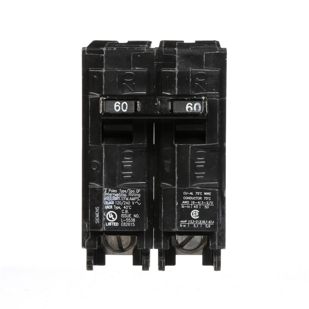 Siemens 60 Amp Double Pole Type Qp Circuit Breaker Q260