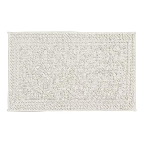 Jaquard Cream 17 in. x 24 in. and 21 in. x 34 in. Bath Rug Set (2-Piece)