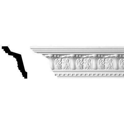 5 in. x 4-3/8 in. x 96 in. Acanthus and Dots Polyurethane Crown Moulding