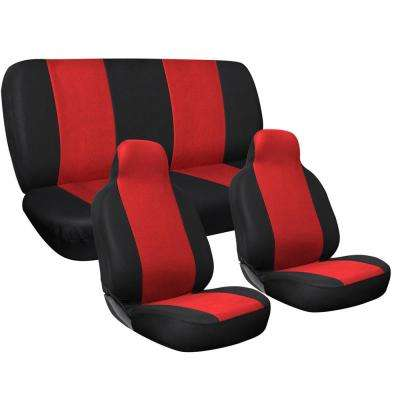 Polyester Seat Covers Set 24 in. L x 21 in. W x 40 in. H 3-Piece Complete Car Seat Cover Set Red and Black