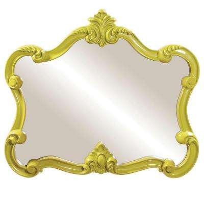 28 in. x 32 in. Glossy Green Whimsical Framed Mirror