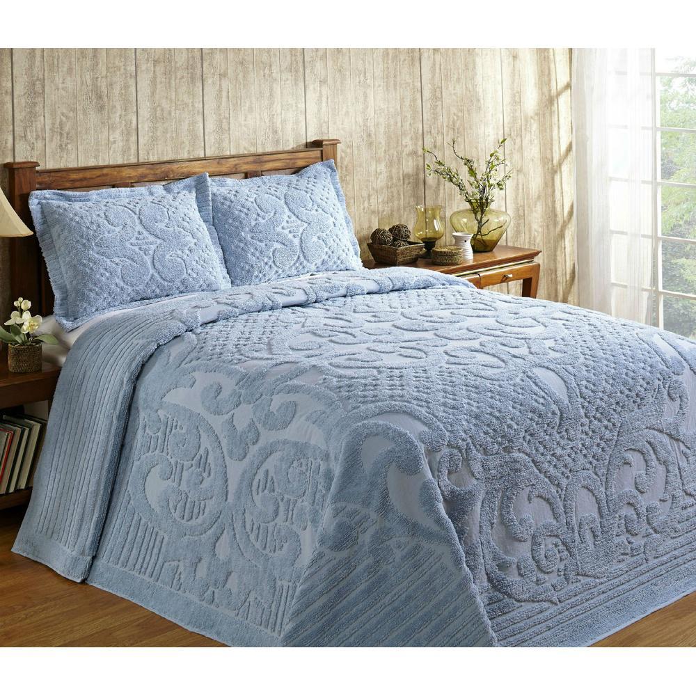 Bedspreads.Ashton 1 Piece Blue Queen Bedspread