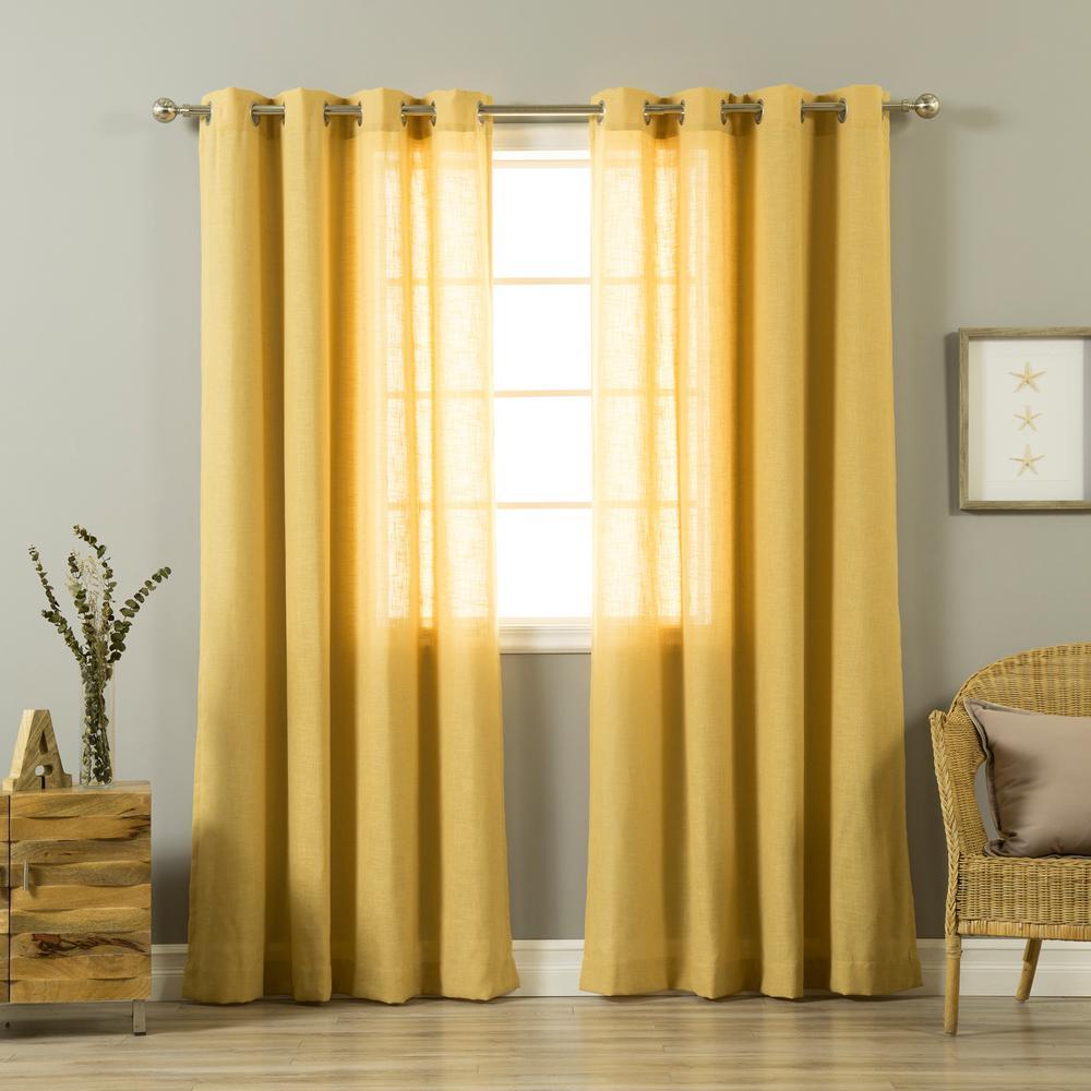 84 in. L Mustard Linen Blend Curtain Panel (2-Pack)