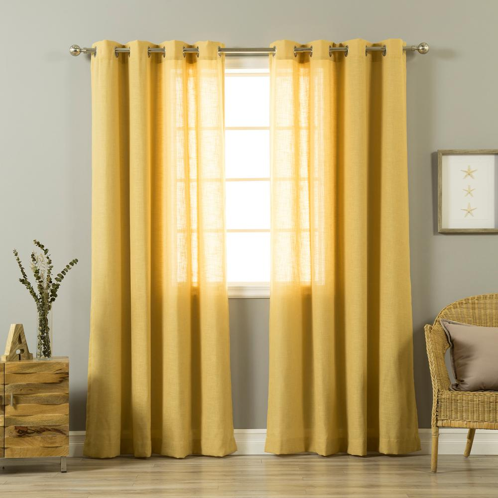 Mustard Yellow Kitchen Curtains: 84 In. L Mustard Linen Blend Curtain Panel (2-Pack)-JC