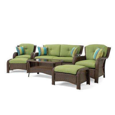 Sawyer 6-Piece Wicker Outdoor Seating Set with Sunbrella Spectrum Cilantro Cushion