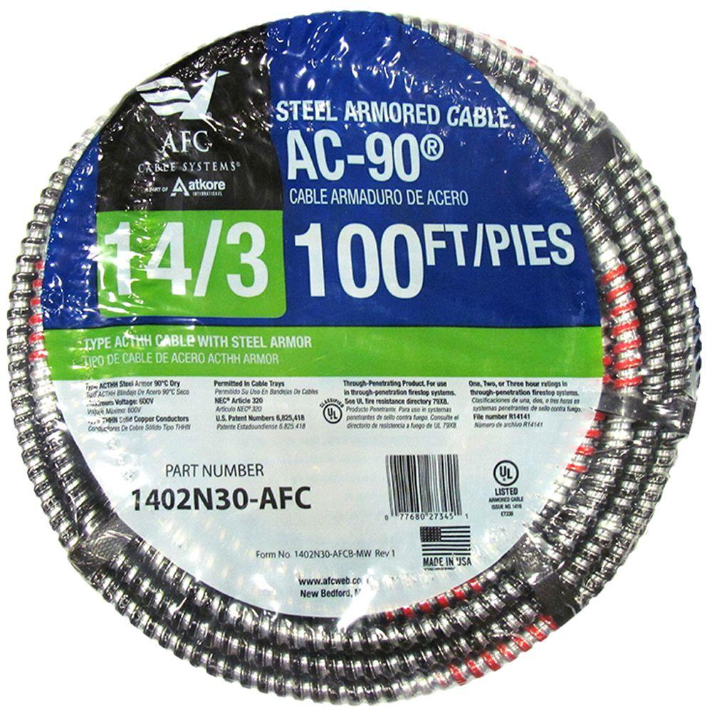 AFC Cable Systems 14/3 x 100 ft. BX/AC-90 Solid Cable