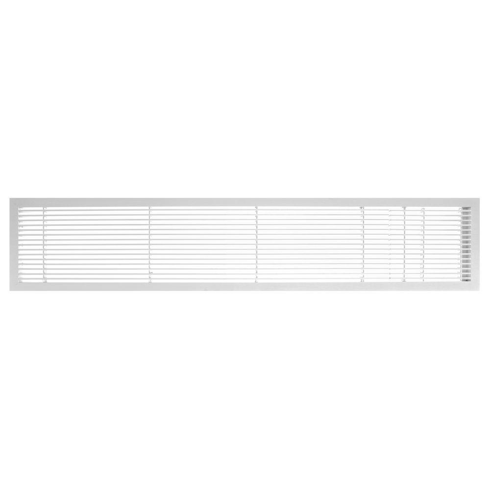 Architectural Grille AG10 Series 6 in. x 24 in. Solid Aluminum Fixed Bar Supply/Return Air Vent Grille, White-Matte with Door