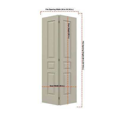 36 in. x 80 in. Avalon Desert Sand Painted Textured Hollow Core Molded Composite MDF Closet Bi-fold Door
