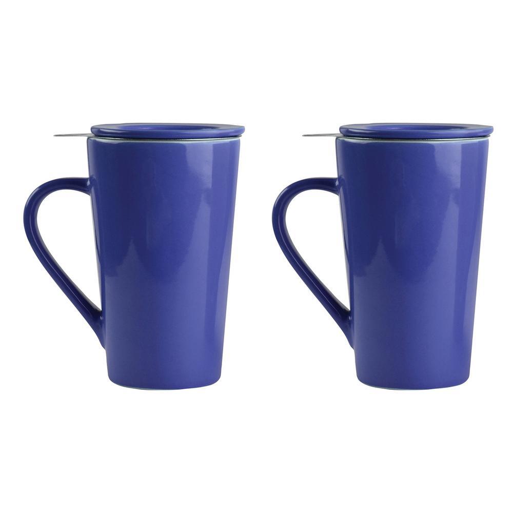 2-Piece Blue 15 oz. Tea Time Porcelain Mug Set