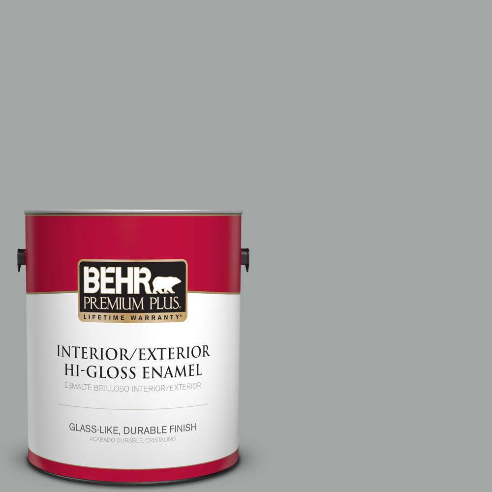 1 gal. #PPU25-04 Sharkskin Suit Hi-Gloss Enamel Interior/Exterior Paint