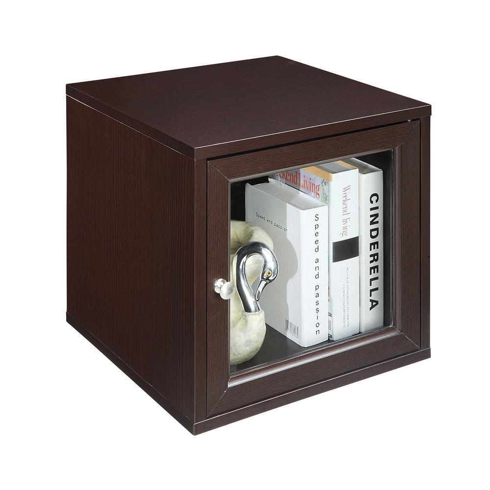 Espresso 15 in. Glass Door Cube