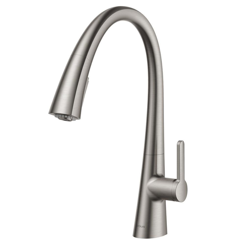 KRAUS Nolen Single-Handle Pull-Down Sprayer Kitchen Faucet with 2-Function  Sprayhead in all-Brite Spot Free Stainless Steel
