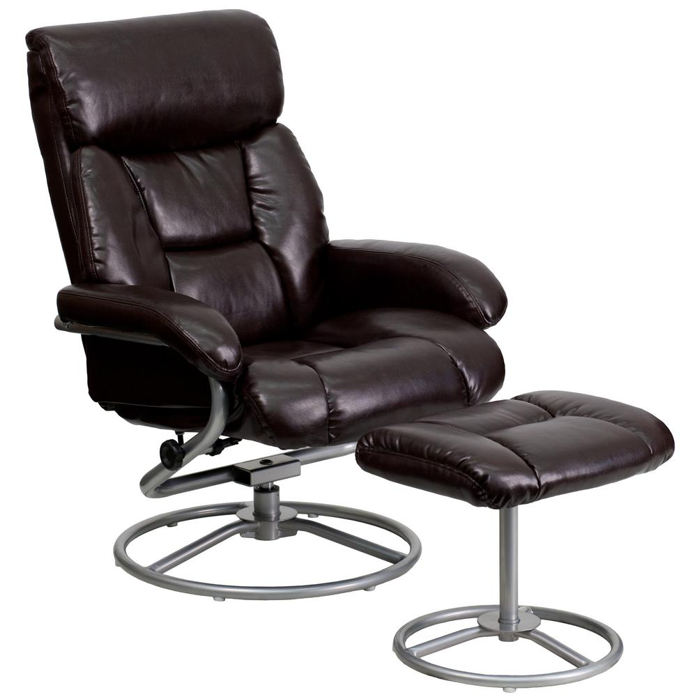 Good Flash Furniture Contemporary Brown Leather Recliner And Ottoman With Metal  Base