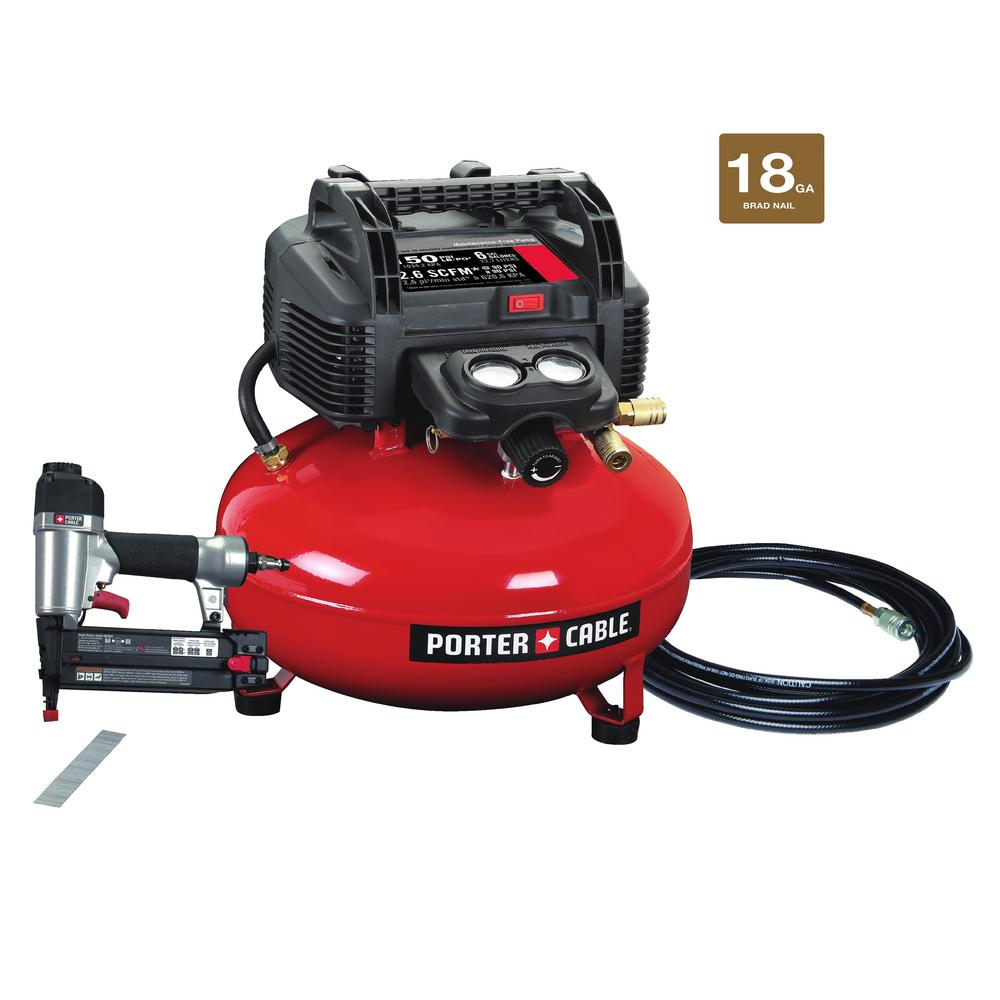 6 Gal. 150 PSI Portable Electric Air Compressor and 18-Gauge Brad