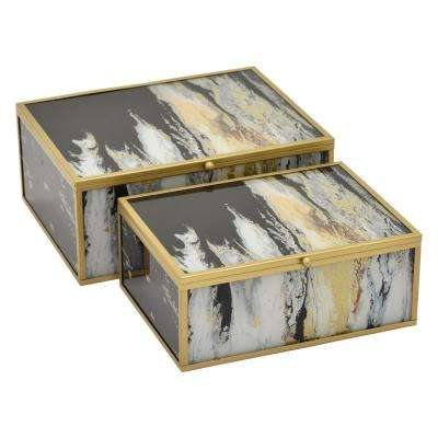 3.75 in. Metal/Glass Box in Black (Set of 2)